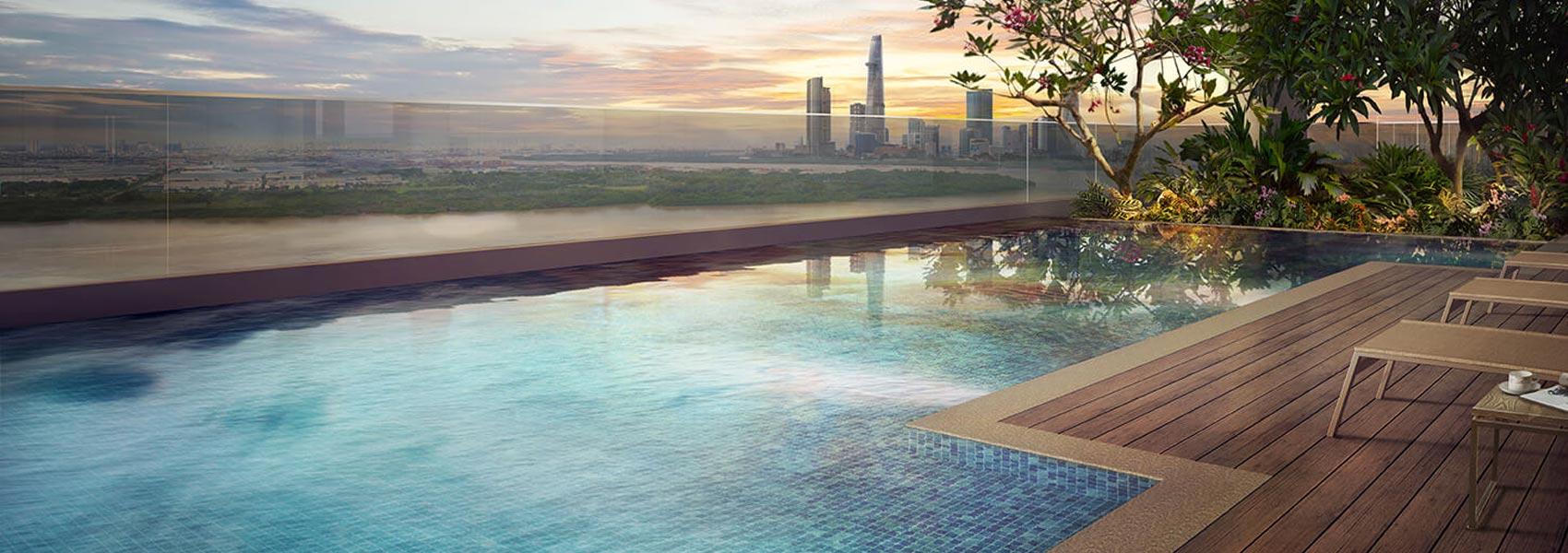 Hồ bơi dự án căn hộ chung cư One Verandah Quận 2 Đường Bát Nàn chủ đầu tư Mapletree