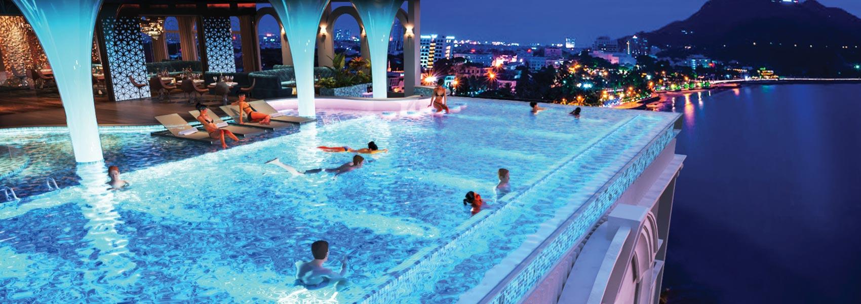 Hồ bơi dự án căn hộ Condotel Oyster Gành Hào Đường 82 Trần Phú chủ đầu tư Vietpearl Group