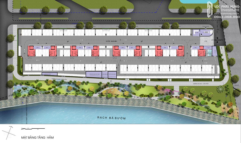 Mặt bằng tầng hầm Block K dự án căn hộ chung cư Sky X Quận 7 Đường Đào Trí chủ đầu tư TTC LAND