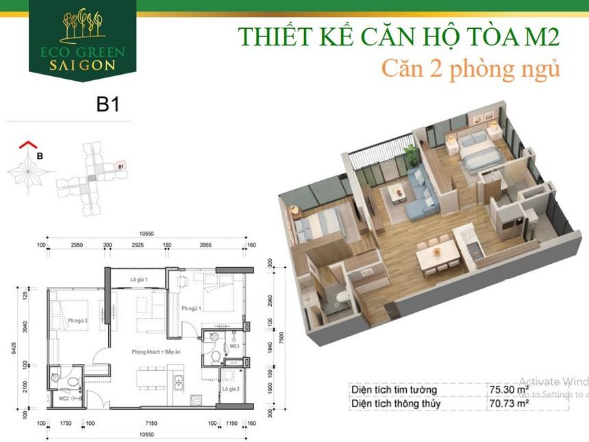 Thiết kế chi tiết căn hộ block M2 dự án Eco Green Sài Gòn Quận 7