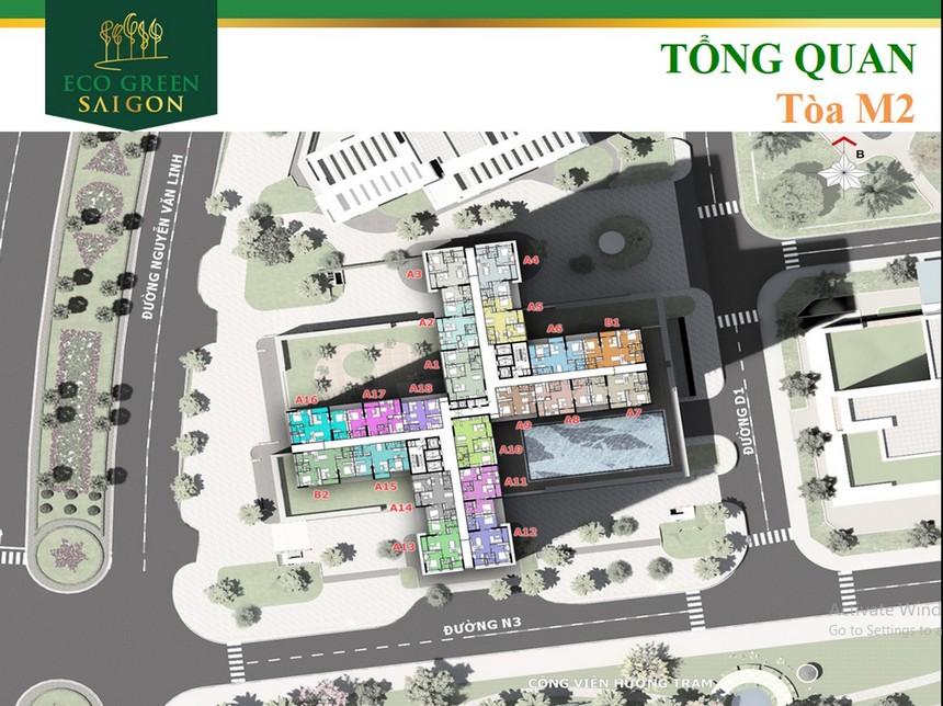 Thiết kế mặt bằngcăn hộ block M2 dựa án Eco Green Sài Gòn Quận 7