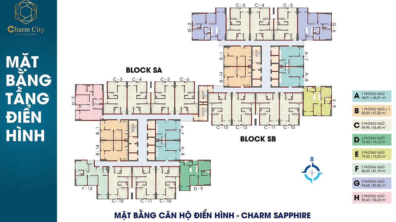 Mặt bằng dự án căn hộ chung cư Charm City Dĩ An Bình Dương chủ đầu tư DCT Group