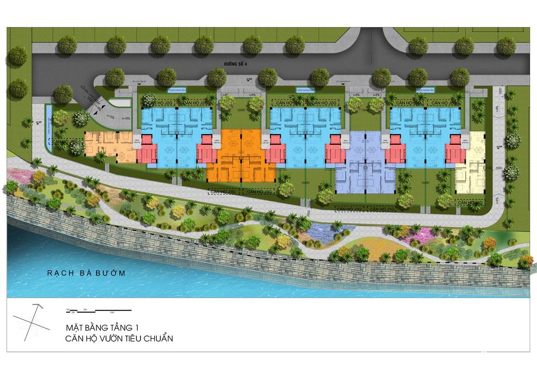 Mặt bằng tầng 1 Block J dự án căn hộ Panomax River Villa đường Đào Trí Quận 7