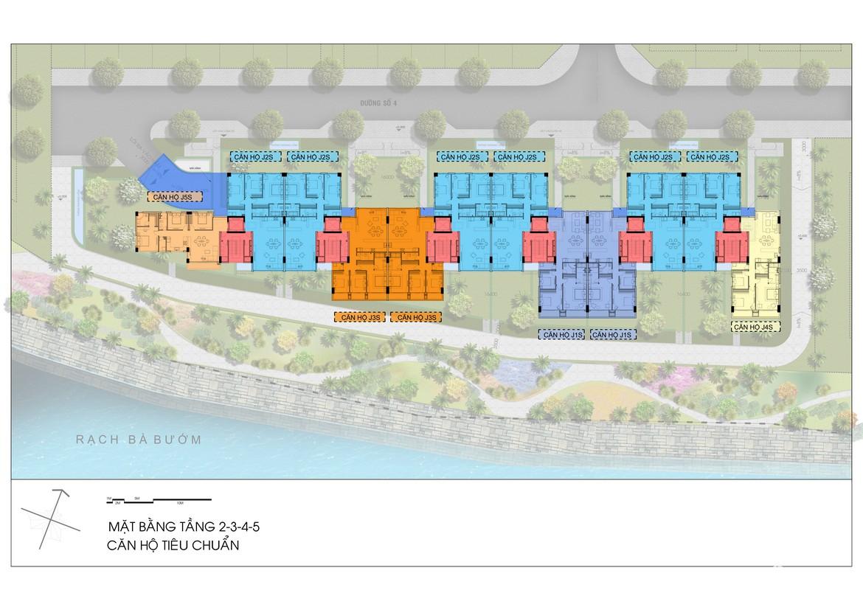Mặt bằng tầng 2,3,4,5 Block J dự án căn hộ Panomax River Villa đường Đào Trí Quận 7