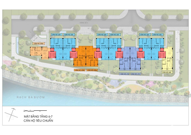 Mặt bằng tầng 6,7, Block J dự án căn hộ Sky X đường Đào Trí Quận 7