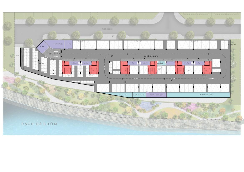 Mặt bằng tầng hầm Block J dự án căn hộ Panomax River Villa đường Đào Trí Quận 7