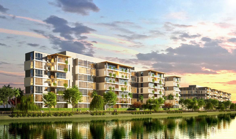 Phối cảnh tổng thể dự án căn hộ chung cư Panomax River Villa Quận 7 Đường Đào Trí chủ đầu tư TTC LAND từ nhánh sông Sài Gòn