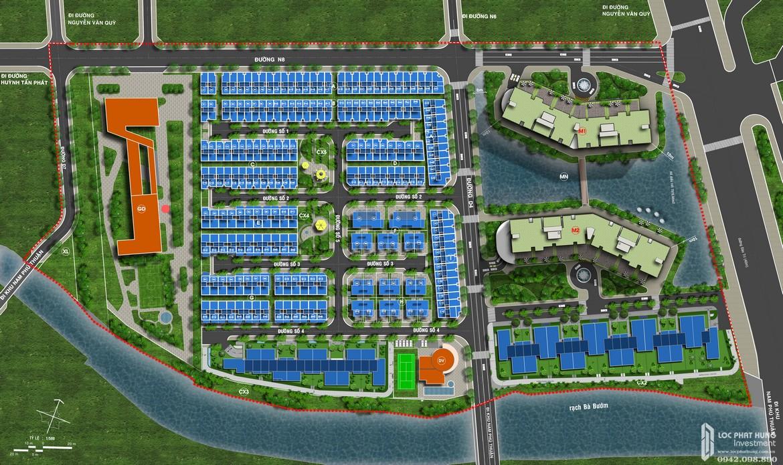 Sơ đồ mặt bằng tổng thể cụm dự án Panomax River Villa đường Đào Trí Quận 7