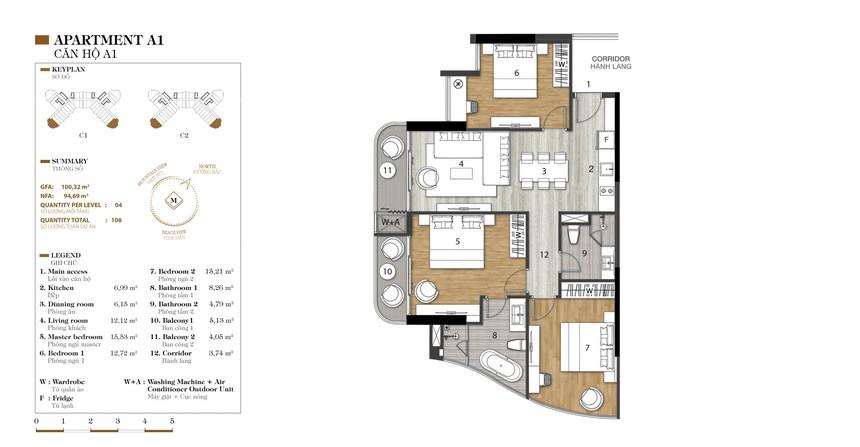 Mặt bằng căn A1-1 dự án condotel Crystal Marina Bay Nha Trang Đường Phạm Văn Đồng chủ đầu tư Crystal Bay