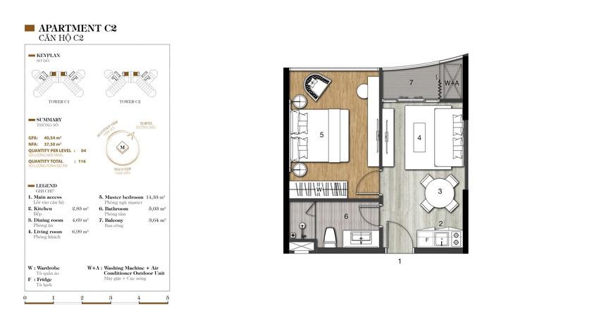 Mặt bằng căn C2-1 dự án condotel Crystal Marina Bay Nha Trang Đường Phạm Văn Đồng chủ đầu tư Crystal Bay