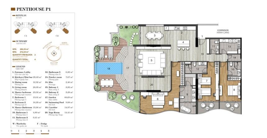 Mặt bằng căn P1-1 dự án condotel Crystal Marina Bay Nha Trang Đường Phạm Văn Đồng chủ đầu tư Crystal Bay
