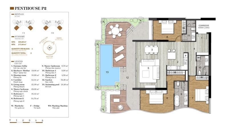 Mặt bằng căn P2-1 dự án condotel Crystal Marina Bay Nha Trang Đường Phạm Văn Đồng chủ đầu tư Crystal Bay