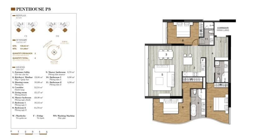 Mặt bằng căn P3-1 dự án condotel Crystal Marina Bay Nha Trang Đường Phạm Văn Đồng chủ đầu tư Crystal Bay