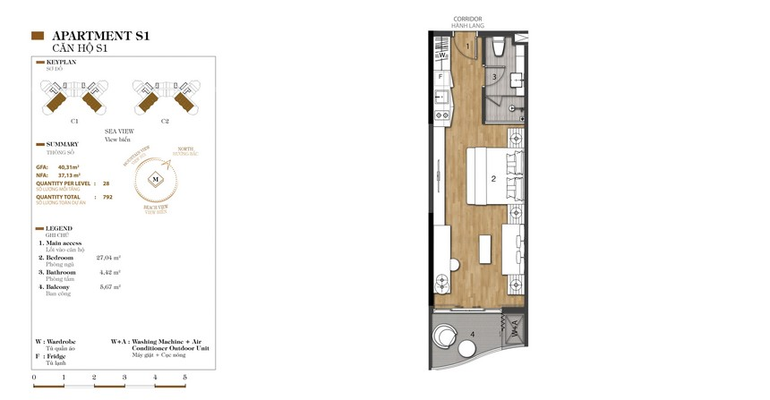 Mặt bằng căn S1-1 dự án condotel Crystal Marina Bay Nha Trang Đường Phạm Văn Đồng chủ đầu tư Crystal Bay