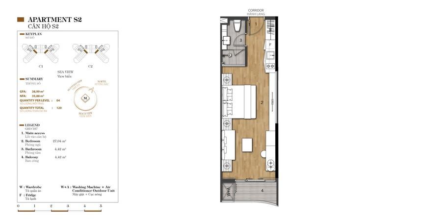 Mặt bằng căn S2-1 dự án condotel Crystal Marina Bay Nha Trang Đường Phạm Văn Đồng chủ đầu tư Crystal Bay