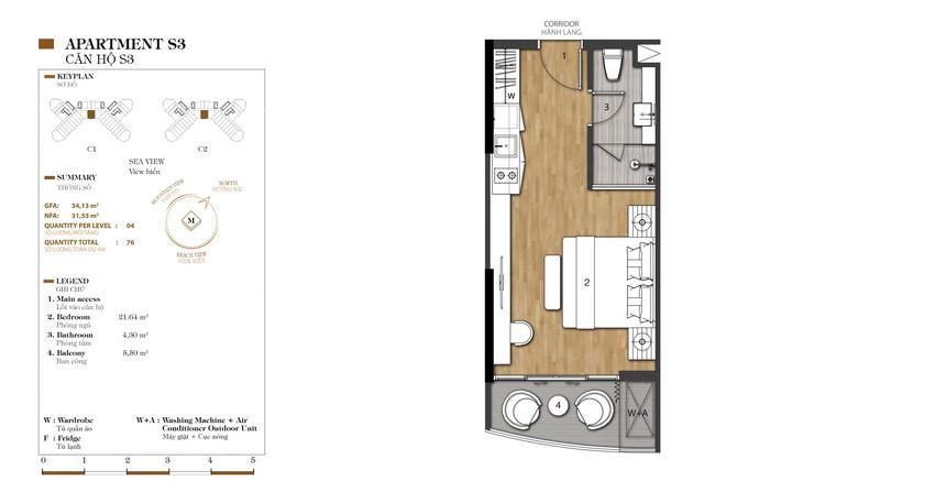 Mặt bằng căn S3-1 dự án condotel Crystal Marina Bay Nha Trang Đường Phạm Văn Đồng chủ đầu tư Crystal Bay