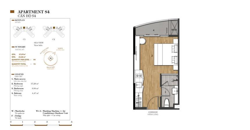 Mặt bằng căn S4-1 dự án condotel Crystal Marina Bay Nha Trang Đường Phạm Văn Đồng chủ đầu tư Crystal Bay