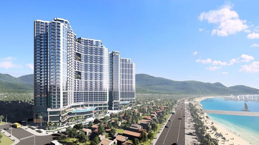 Phối cảnh tổng thể dự án condotel Crystal Marina Bay Nha Trang Đường Phạm Văn Đồng chủ đầu tư Crystal Bay