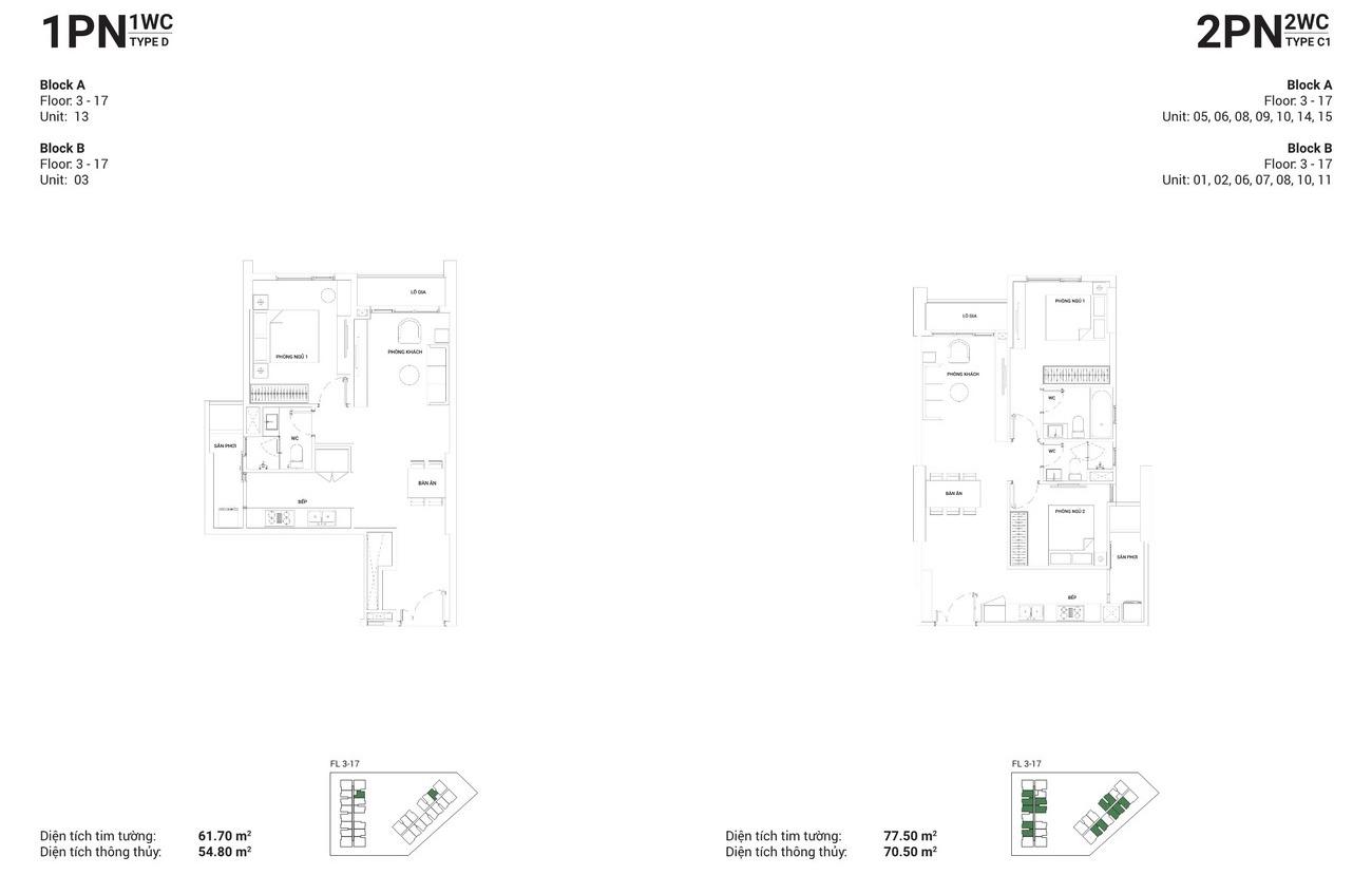Thiết kế căn hộ 1 PN-1 WC và căn hộ 2 PN-2 WC