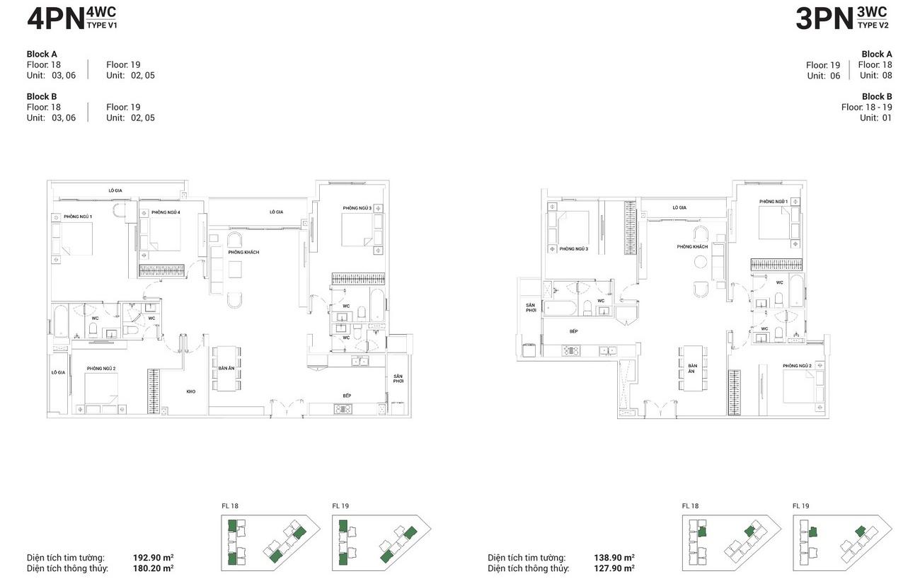 Thiết kế căn hộ 4PN-4WC và căn hộ 3PN-3WC