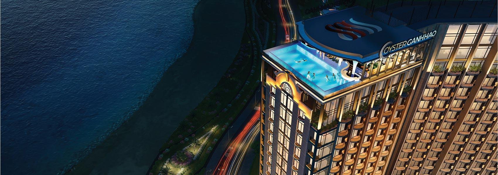 View ban đêm dự án căn hộ Condotel Oyster Gành Hào Đường 82 Trần Phú chủ đầu tư Vietpearl Group