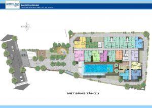 Thiết kế tầng 02 dự án căn hộ Saigon Asiana Quận 6 đường Nguyễn Văn Luông Quận 6