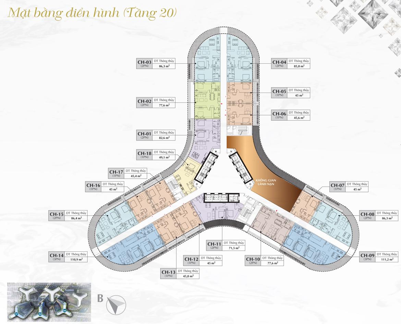 Mặt bằng thiết kế chi tiết toà A1, A2, A3 dự án căn hộ chung cư Sunshine Diamond Rivrer Quận 7 tầng 20 ( Tầng căn hộ có thêm phòng lánh nạn khi gặp sự cố) - SGD BĐS Lộc Phát Hưng 0942.098.890