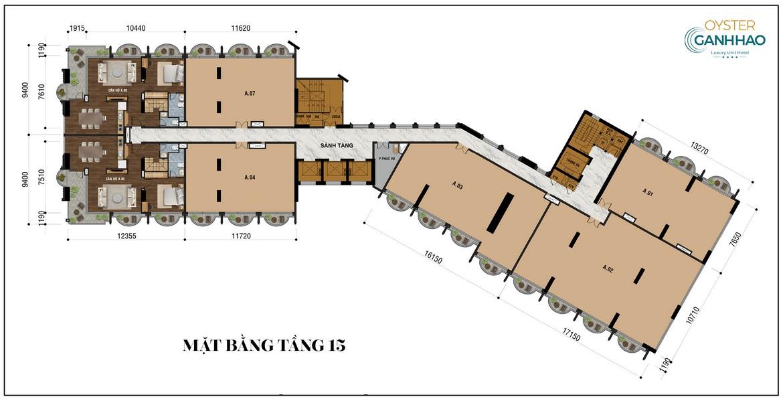 Mặt bằng tầng 15 dự án căn hộ Condotel Oyster Gành Hào Đường 82 Trần Phú chủ đầu tư Vietpearl Group