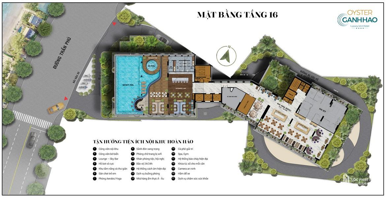Mặt bằng tầng 16 dự án căn hộ Condotel Oyster Gành Hào Đường 82 Trần Phú chủ đầu tư Vietpearl Group