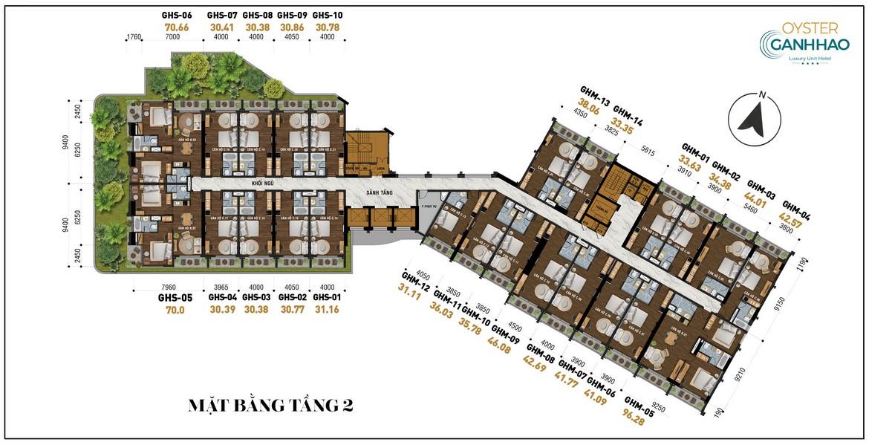 Mặt bằng tầng 2 dự án căn hộ Condotel Oyster Gành Hào Đường 82 Trần Phú chủ đầu tư Vietpearl Group