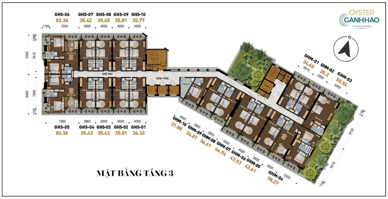 Mặt bằng tầng 3 dự án căn hộ Condotel Oyster Gành Hào Đường 82 Trần Phú chủ đầu tư Vietpearl Group