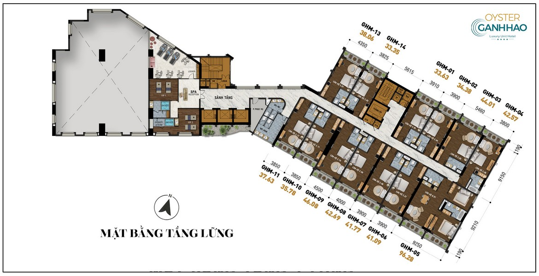 Mặt bằng tầng lững dự án căn hộ Condotel Oyster Gành Hào Đường 82 Trần Phú chủ đầu tư Vietpearl Group