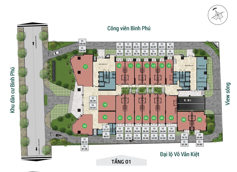 Mặt bằng tầng 01 dự án căn hộ chung cư Asiana Capella đường Trần Văn Kiểu Quận 6 - Liên hệ 0942.098.890 hỗ trợ mua bán + cho thuê