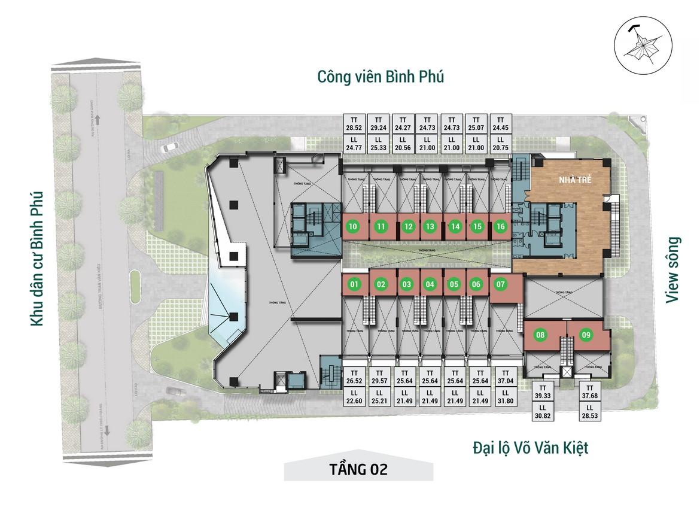 Mặt bằng tầng 02 dự án căn hộ chung cư Asiana Capella đường Trần Văn Kiểu Quận 6 - Liên hệ 0942.098.890 hỗ trợ mua bán + cho thuê