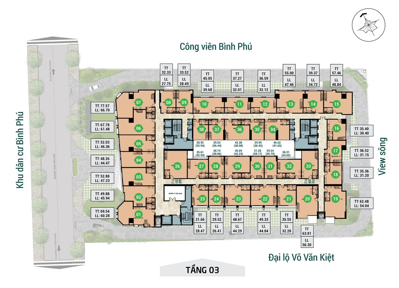 Mặt bằng tầng 03 dự án căn hộ chung cư Asiana Capella đường Trần Văn Kiểu Quận 6 - Liên hệ 0942.098.890 hỗ trợ mua bán + cho thuê