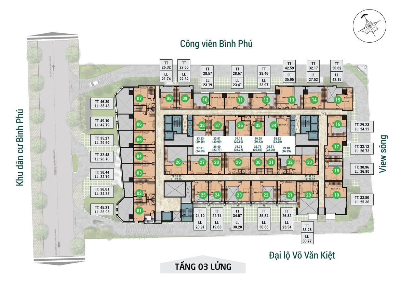 Mặt bằng tầng 03 lửng dự án căn hộ chung cư Asiana Capella đường Trần Văn Kiểu Quận 6 - Liên hệ 0942.098.890 hỗ trợ mua bán + cho thuê