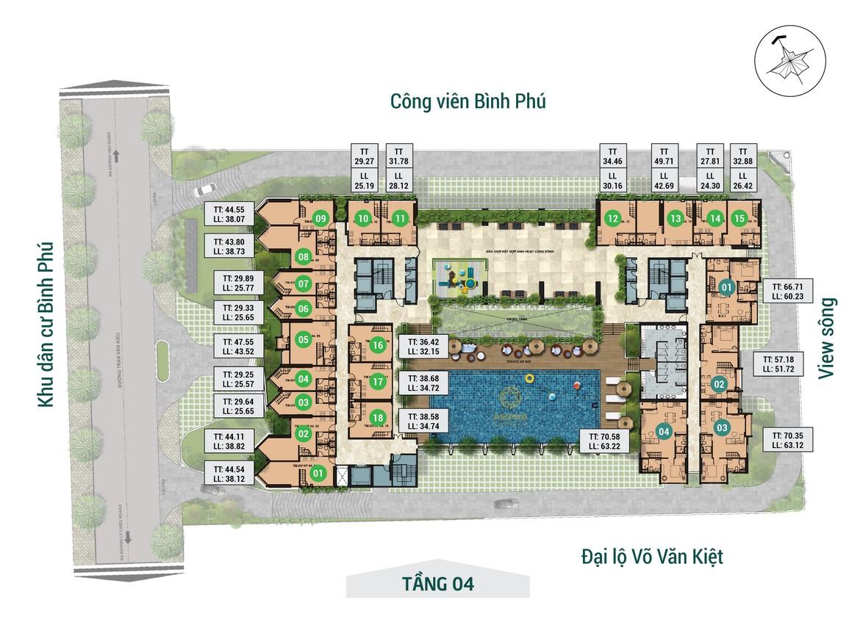 Mặt bằng tầng 04 dự án căn hộ chung cư Asiana Capella đường Trần Văn Kiểu Quận 6 - Liên hệ 0942.098.890 hỗ trợ mua bán + cho thuê