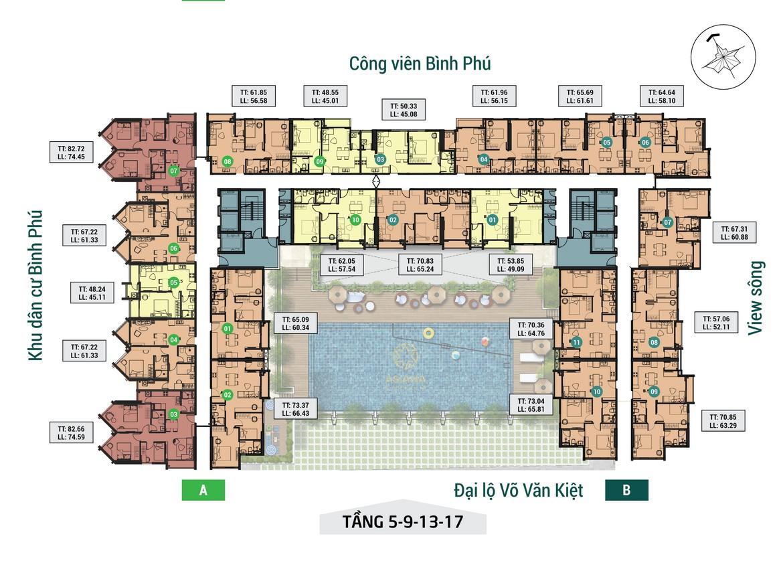 Mặt bằng tầng 05-09 -13-17 dự án căn hộ chung cư Asiana Capella đường Trần Văn Kiểu Quận 6 - Liên hệ 0942.098.890 hỗ trợ mua bán + cho thuê