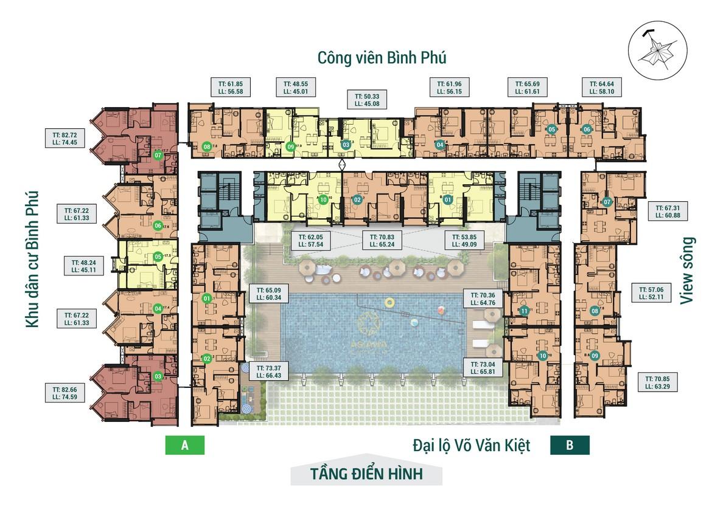 Mặt bằng tầng điển hình dự án căn hộ chung cư Asiana Capella đường Trần Văn Kiểu Quận 6 - Liên hệ 0942.098.890 hỗ trợ mua bán + cho thuê