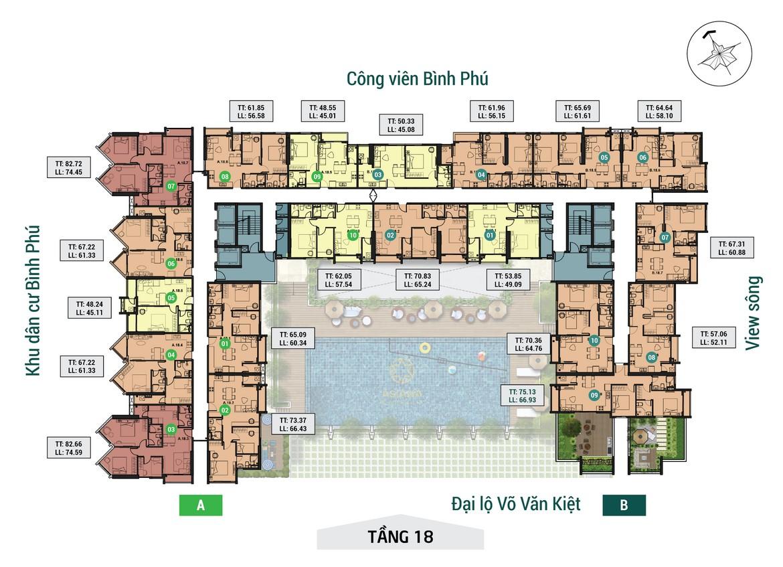Mặt bằng tầng 18 dự án căn hộ chung cư Asiana Capella đường Trần Văn Kiểu Quận 6 - Liên hệ 0942.098.890 hỗ trợ mua bán + cho thuê