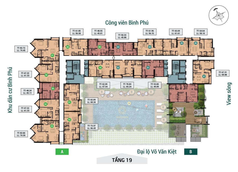 Mặt bằng tầng 19 dự án căn hộ chung cư Asiana Capella đường Trần Văn Kiểu Quận 6 - Liên hệ 0942.098.890 hỗ trợ mua bán + cho thuê