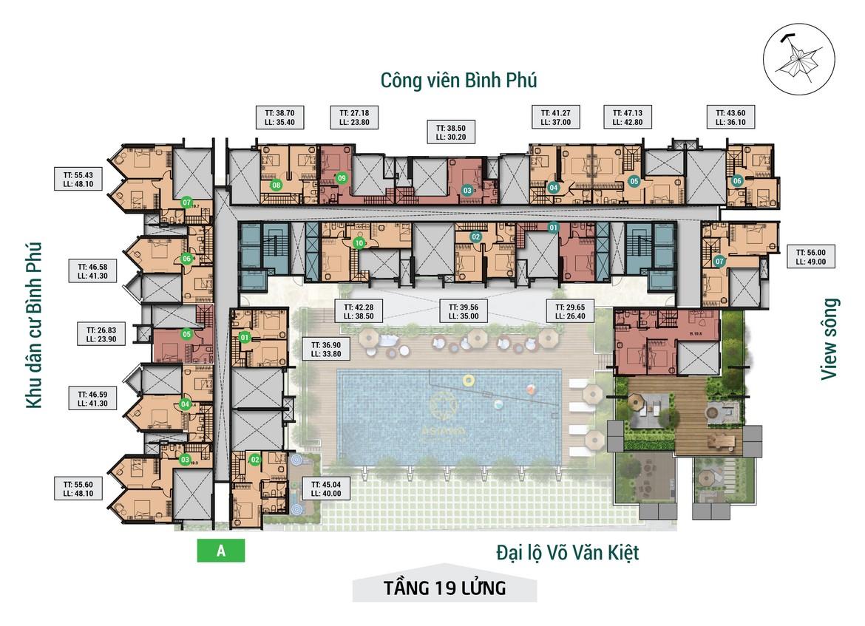 Mặt bằng tầng 19 lửng dự án căn hộ chung cư Asiana Capella đường Trần Văn Kiểu Quận 6 - Liên hệ 0942.098.890 hỗ trợ mua bán + cho thuê