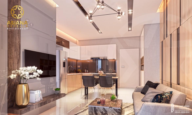 Thiết kế phòng khách nhà mẫu căn hộ chung cư SaiGon Asiana quận 6 diện tích 65m2 thiết kế 2 phòng ngủ