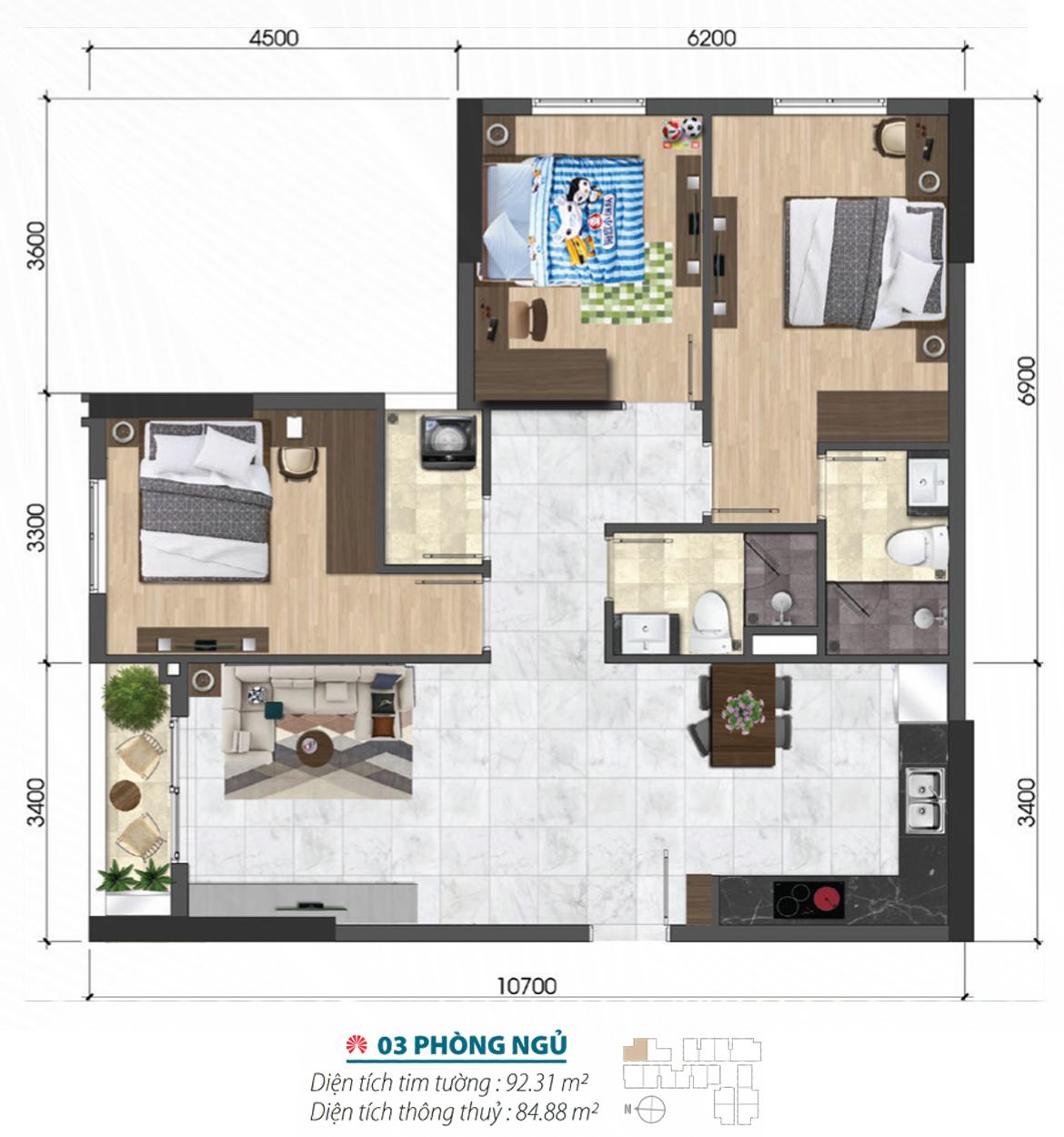 Thiết kế chi tiết căn hộ chung cư quận 6 loại 3 phòng ngủ diện tích 92m2 – Liên hệ 0942.098.890 nhận báo giá căn này