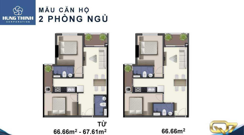 Thiết kế dự án căn hộ chung cư Q7 Boulevard Quận 7 Đường Nguyễn Lương Bằng chủ đầu tư Hưng Thịnh loại 2 phòng ngủ