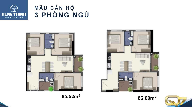 Thiết kế dự án căn hộ chung cư Q7 Boulevard Quận 7 Đường Nguyễn Lương Bằng chủ đầu tư Hưng Thịnh loại 3 phòng ngủ