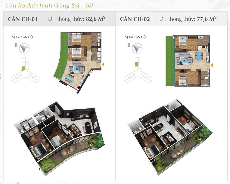 Thiết kế chi tiết căn hộ số 01 và 02 dự án Sunshine Diamond River Quận 7