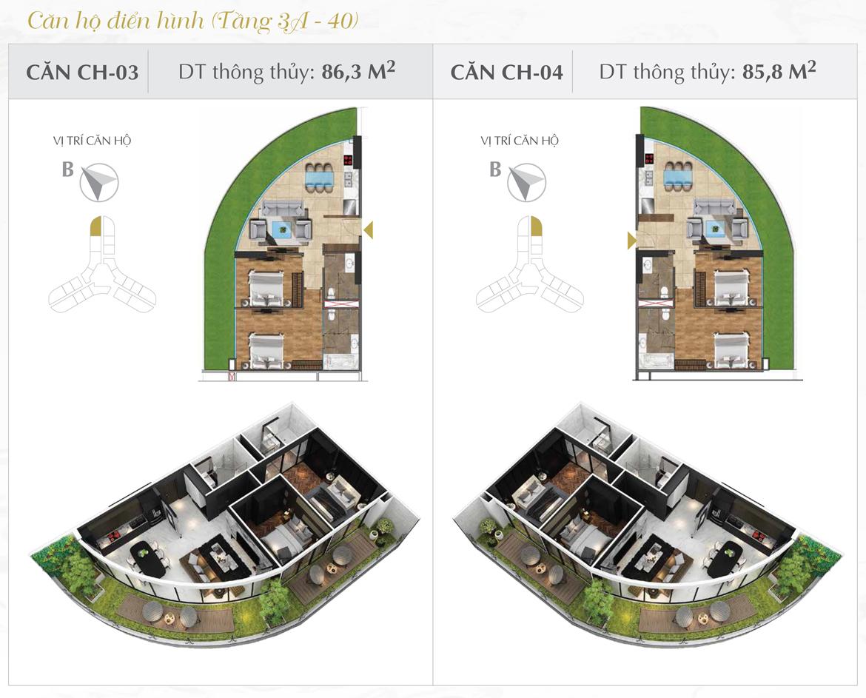 Thiết kế chi tiết căn hộ số 03 và 04 dự án Sunshine Diamond River Quận 7