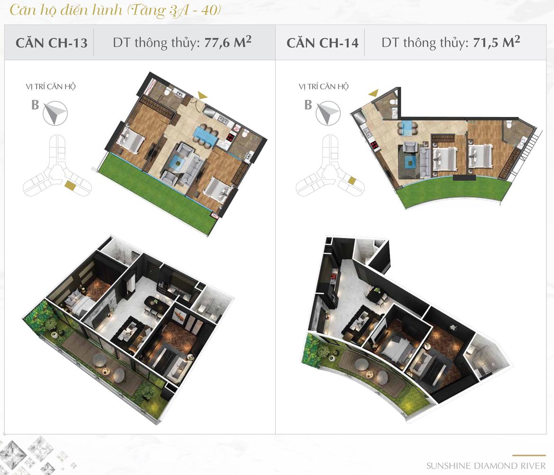 Thiết kế chi tiết căn hộ số 13 và 14 dự án Sunshine Diamond River Quận 7