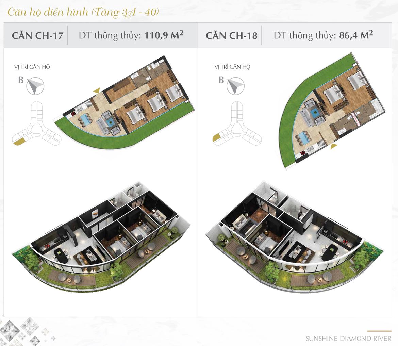 Thiết kế chi tiết căn hộ số 17 và 18 dự án Sunshine Diamond River Quận 7